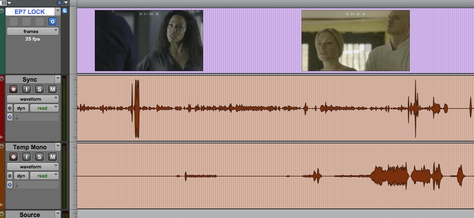 A Pro Tools session showing the picture track (top), a sync track (dialogue & FX) and a temp track in mono. Very easy to see where the music cues begin and end from this.